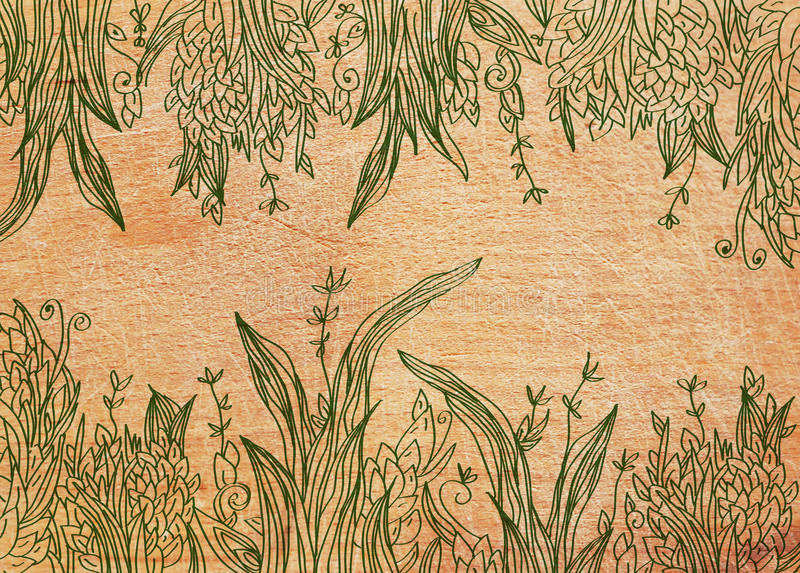 Grass background on the wood texture vector illustration