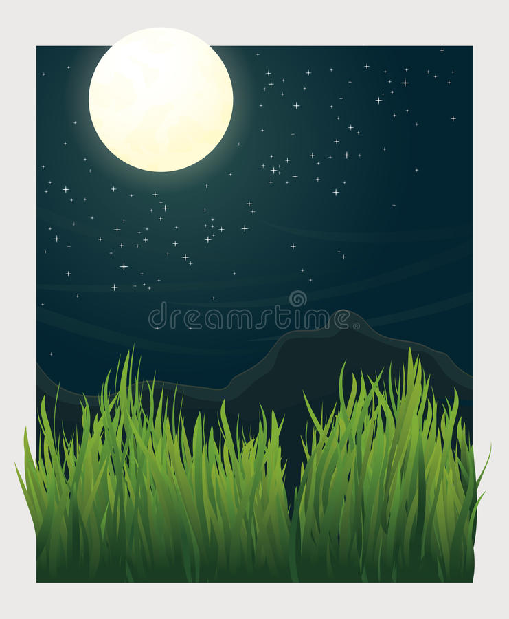 Free Grass Blades And Night Moon Vector Illustration Royalty Free Stock Image - 48658886