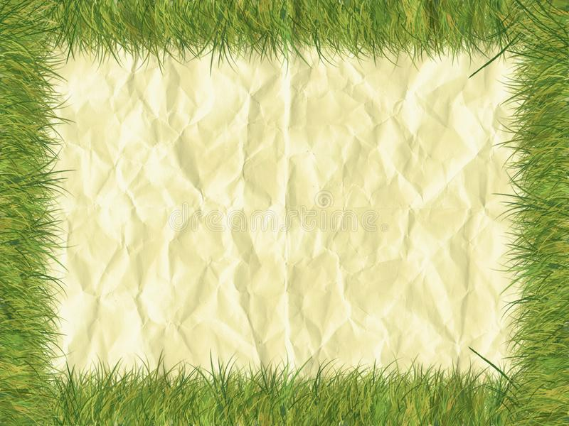 Grass border on paper royalty free stock photography