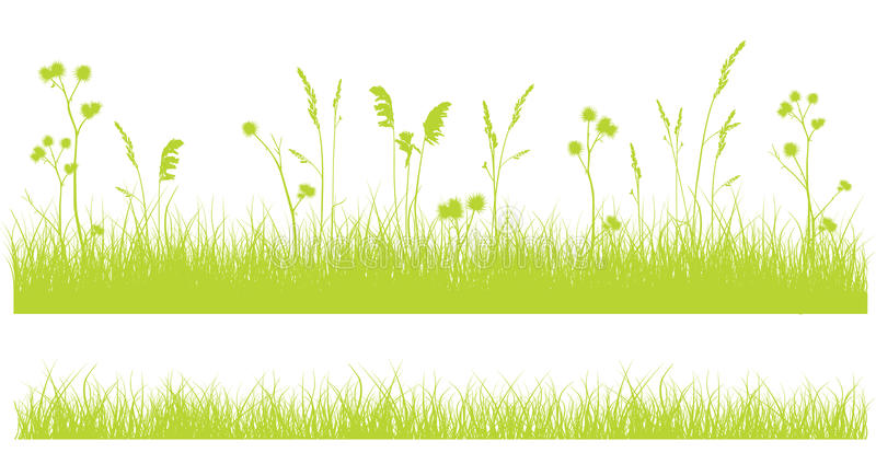 Grass border on white, monochrome green flat design on white royalty free illustration