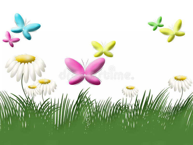 Download Grass, Camomiles And Butterflies Stock Illustration - Image: 17355284