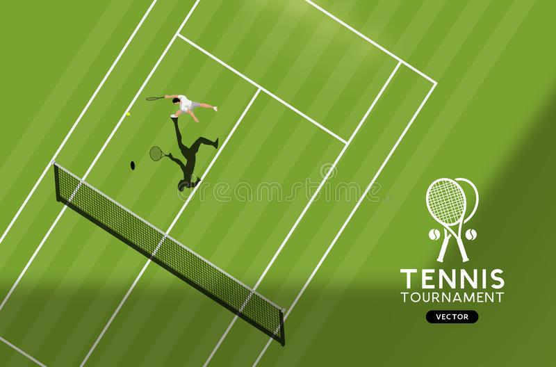 Grass Court Tennis Championship. Top down view of the sport, vector illustration stock illustration