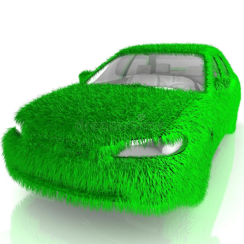 Grass covered car - eco green transport vector illustration
