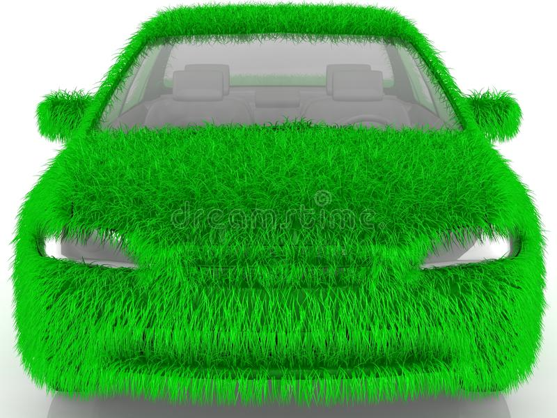 Grass covered car - eco green transport stock illustration