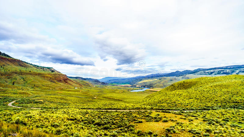 The Grass covered Rolling Hills of the Thompson River Valley in British Columbia royalty free stock image