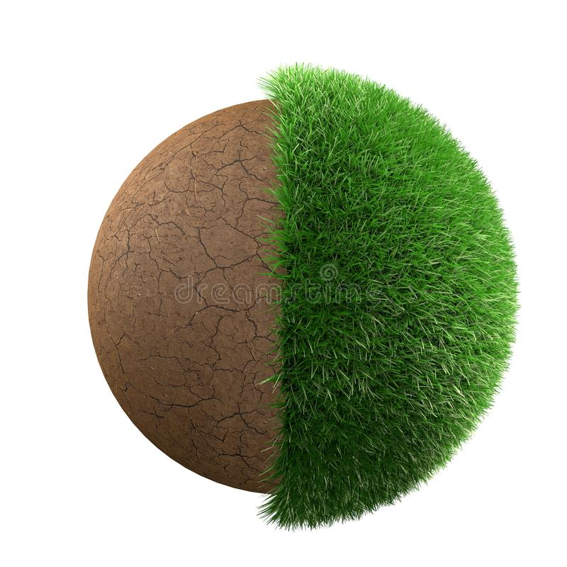 Grass and dirt. Half grass half desert planet 3d render vector illustration