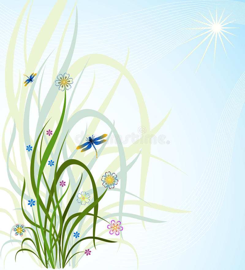 Download Grass and a dragonfly stock illustration. Image of herbage - 10223395