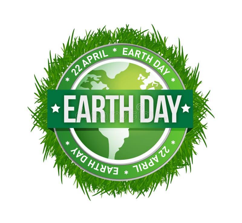 Grass earth day written inside the stamp. Illustration design royalty free illustration