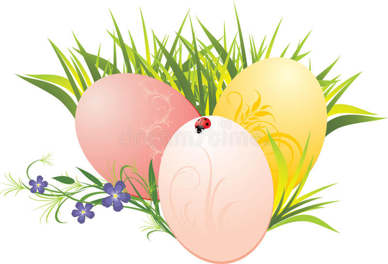 Download Grass, Easter Eggs And Flowers With Ladybird Stock Vector - Image: 13509456