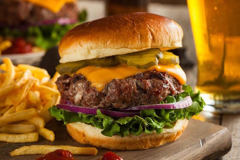 Grass Fed Bison Hamburger. With Lettuce and Cheese stock images
