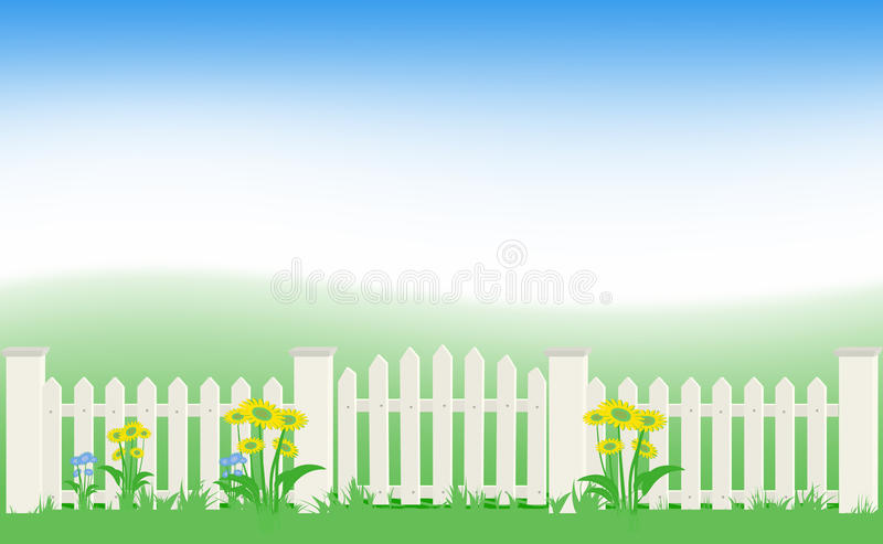 Grass and fence under blue sky. vector illustration