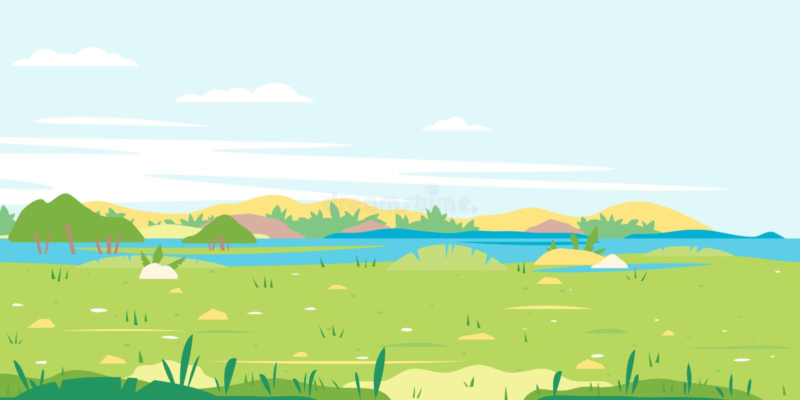 Grass field with river spring landscape royalty free illustration