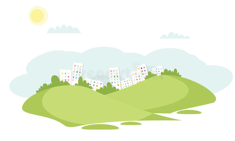 Grass field vector landscape with buildings in the background. Vector illustration stock illustration