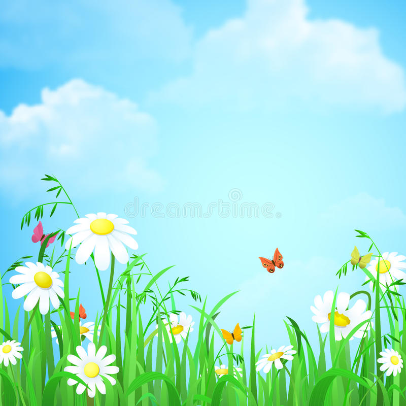 Grass With Flower And Butterflies Vector Flat Background