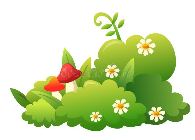 Grass, flower and mushroom stock illustration