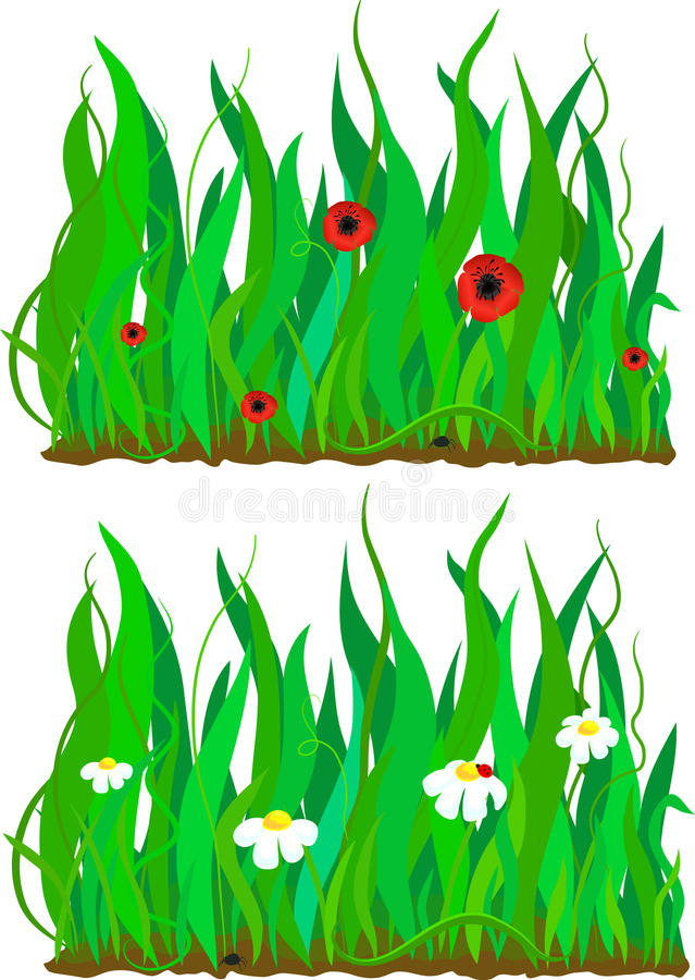 Download Grass And Flower Pattern Set Stock Photo - Image: 24244200