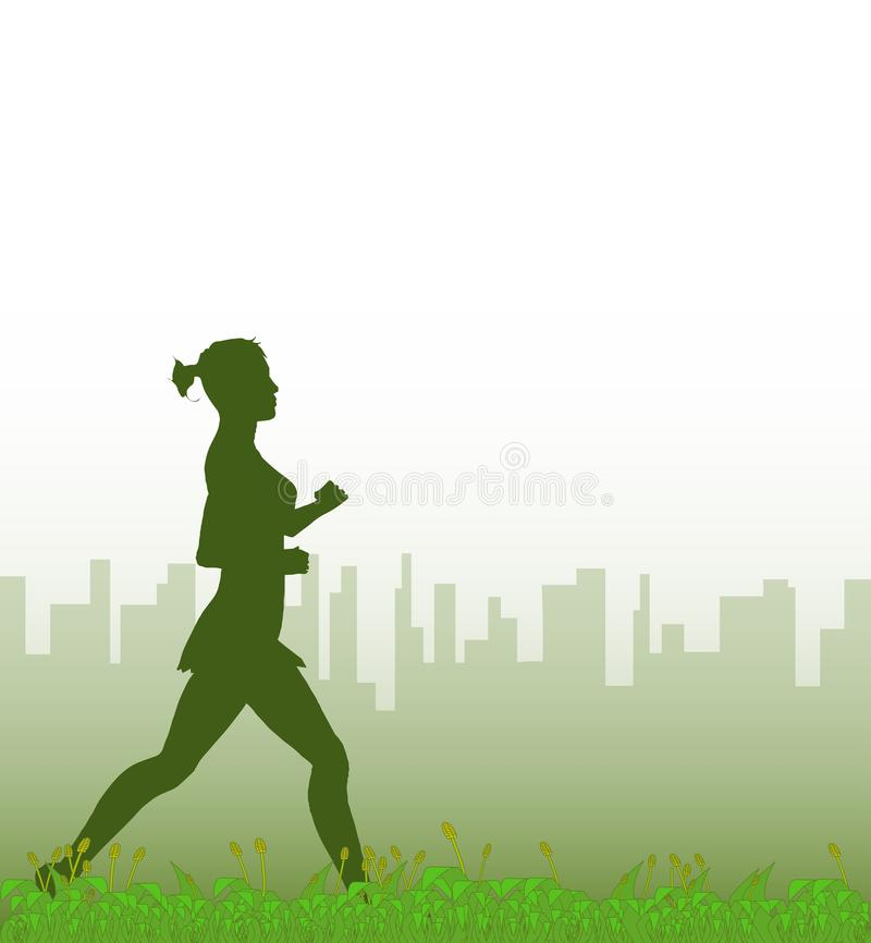 Jogger In The Park. A grass footer overlooked by a misty morning cityscape with a jogger vector illustration