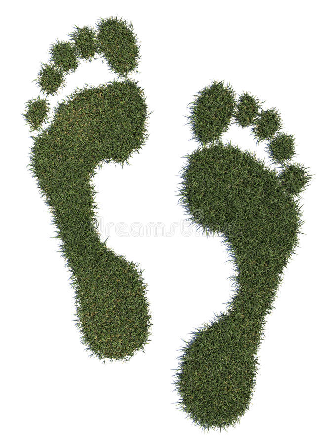 Grass footprints stock photos