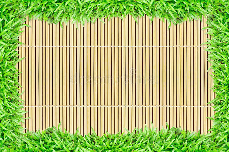 Download Grass Frame On Bamboo Texture Background Stock Image - Image: 20153743