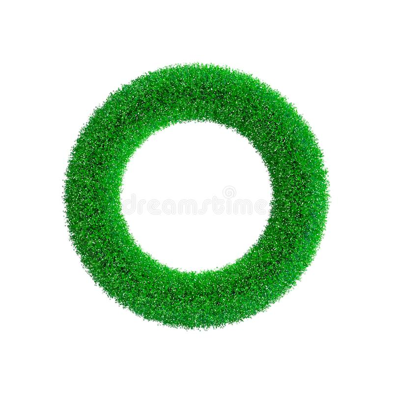 Grass frame in form of circle. Isolated on white background. vector illustration