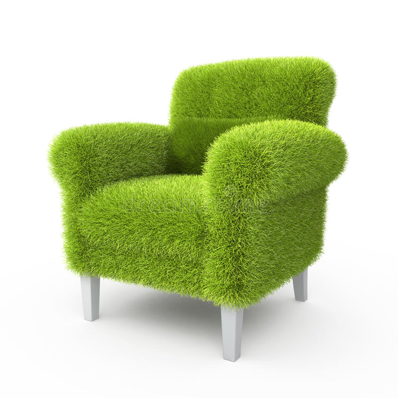 Grass grown on a chair. In the design of information related to eco stock illustration