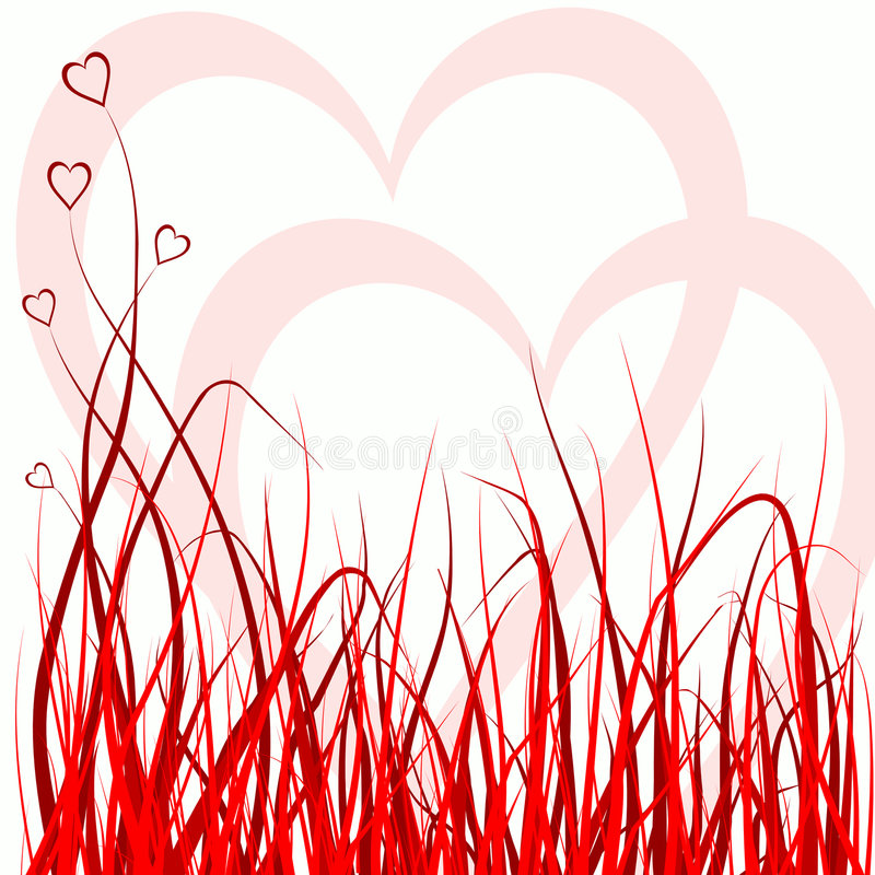 Grass and hearts royalty free illustration