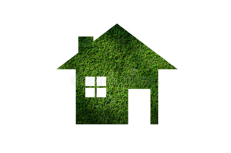 Grass home icon from grass background,Eco Architecture. Green Building,Image clean green house. Ecology , isolated on white royalty free stock photos
