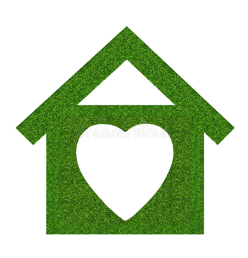 Grass home icon from grass background, isolated on white. Background royalty free stock photography