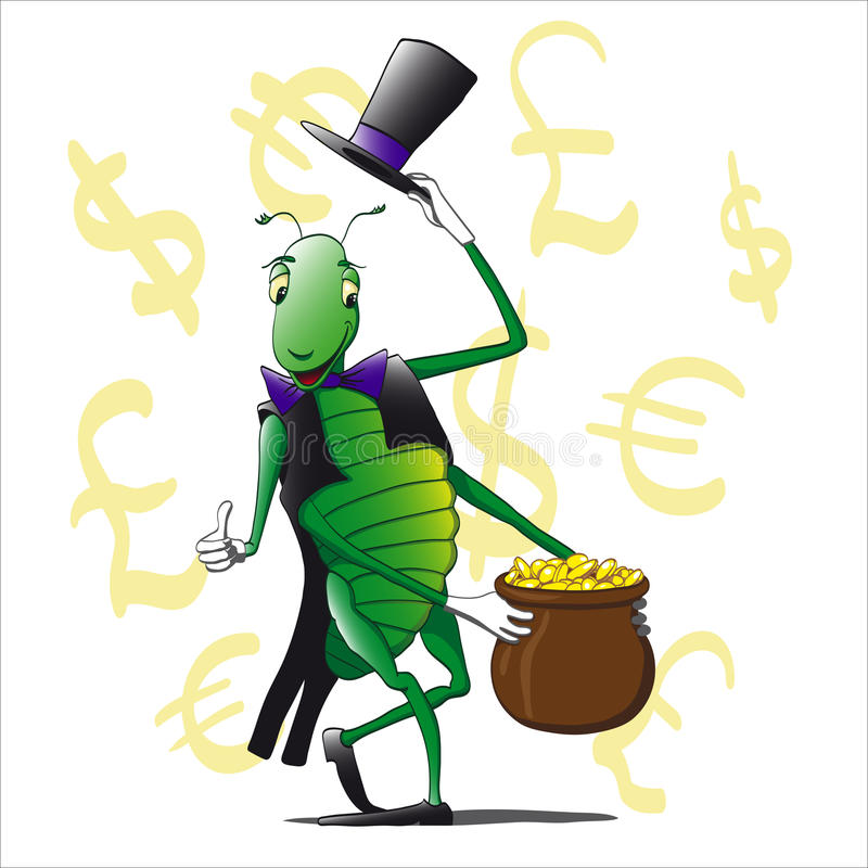 Grass hopper. Grasshopper hat and suit holding a pot of money stock illustration