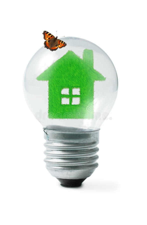 Grass house in Light bulb and butterfly collage royalty free stock photo