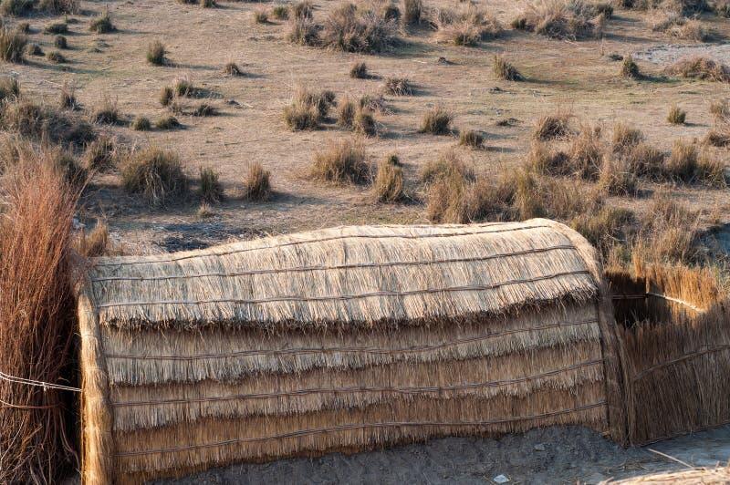 Grass hut houses in the Thar desert stock images