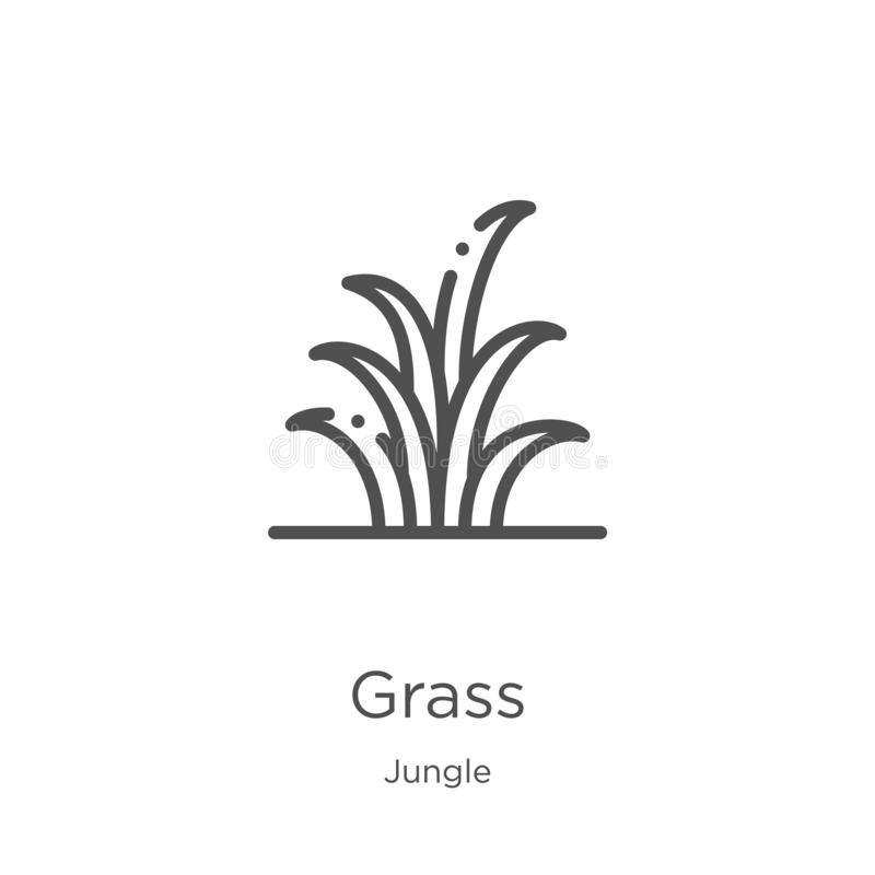 Grass icon vector from jungle collection. Thin line grass outline icon vector illustration. Outline, thin line grass icon for. Grass icon. Element of jungle vector illustration