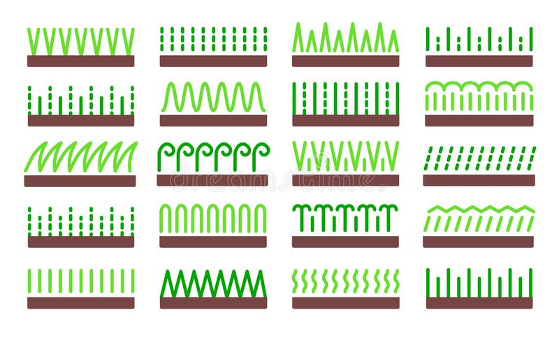 Grass icon vector set. Lawn meadow flat symbols. Natural park & garden signs. Isolated object v. Grass icon vector set. Lawn meadow flat symbols. Natural park & vector illustration