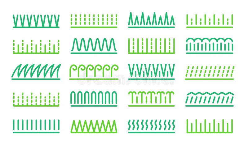 Grass icon vector set. Lawn meadow line symbols. Natural park & garden signs. Isolated object. On white background vector illustration
