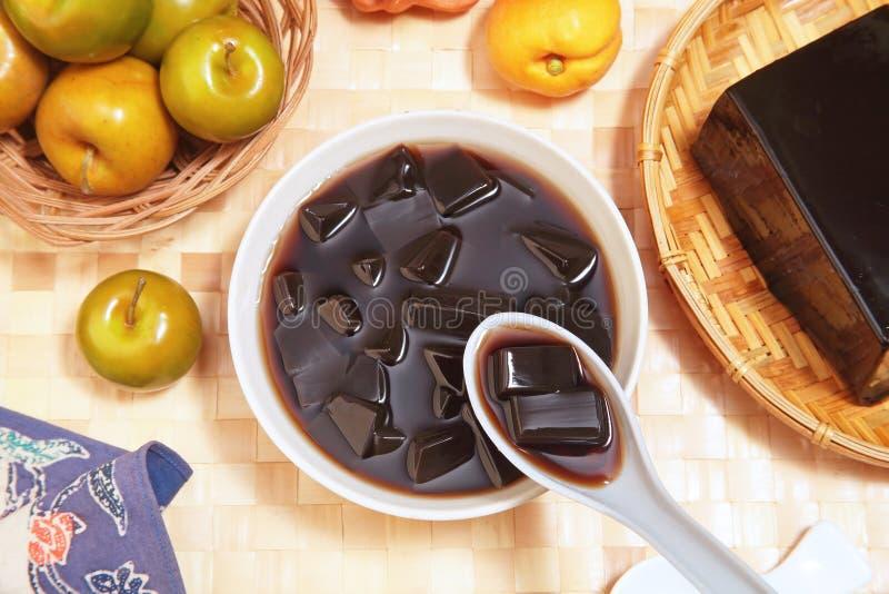 Grass jelly. Is a popular dessert in Taiwan stock photos
