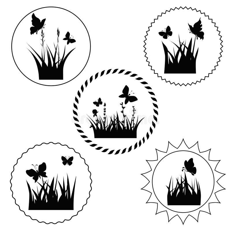 Grass label royalty free illustration