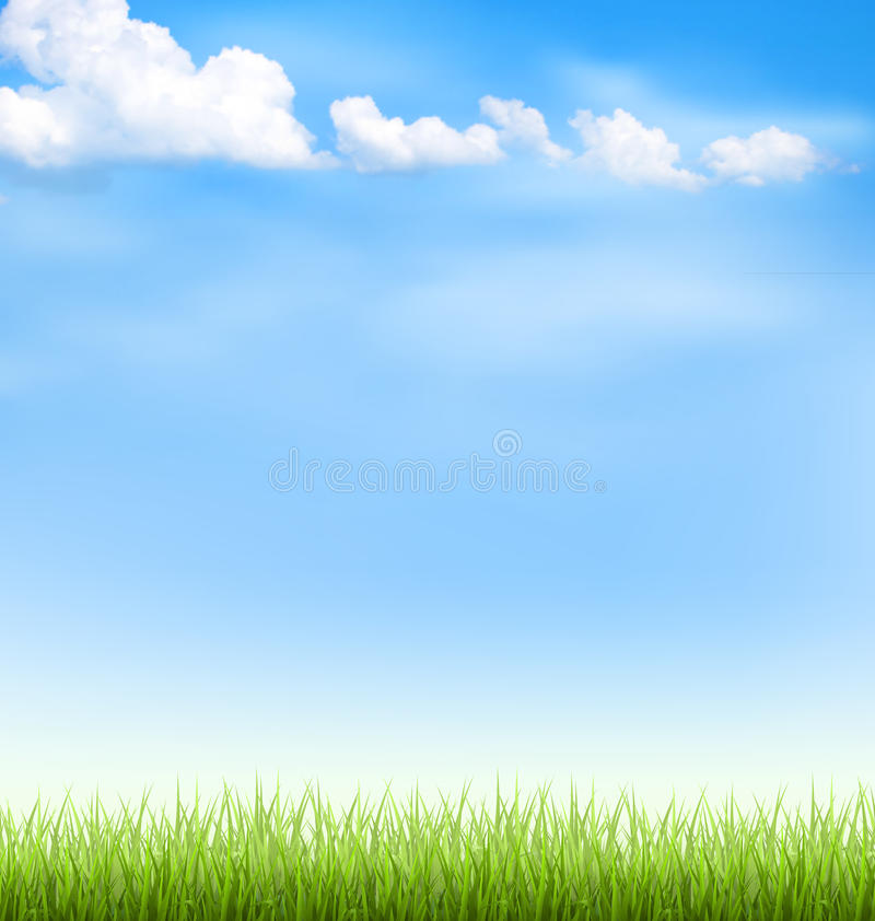 Grass lawn with clouds on blue sky stock images