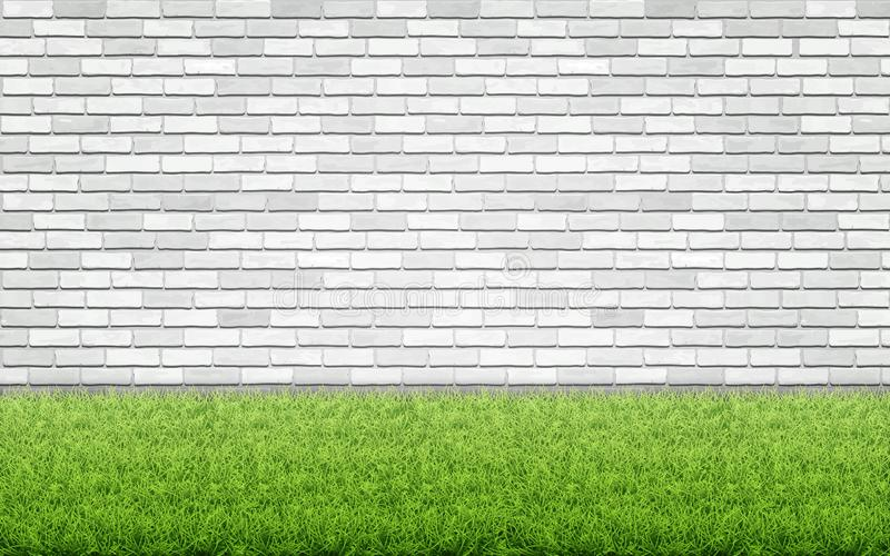 Grass lawn and white brick wall. Green grass lawn on white brick wall background. Spring card blank. Backyard or front garden vector illustration
