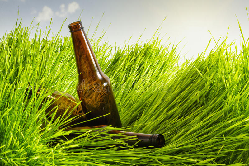 Grass lying in her glass bottles royalty free stock images