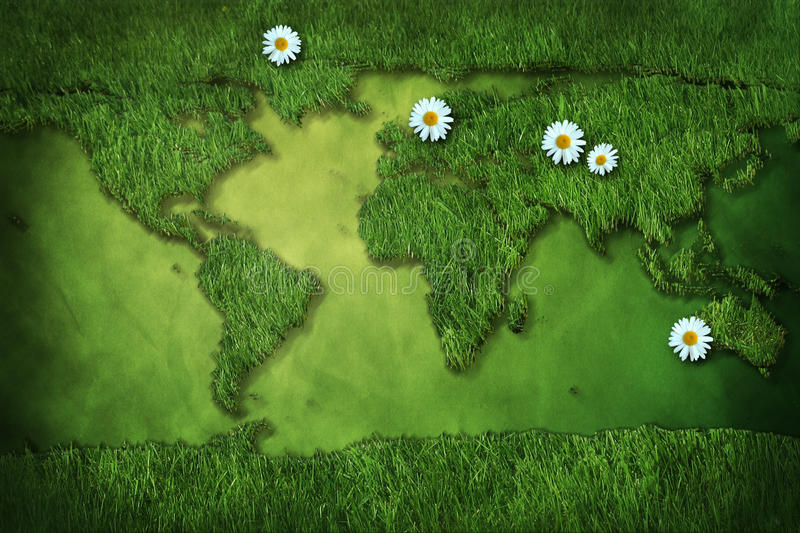 Grass map of world with margherita royalty free stock image