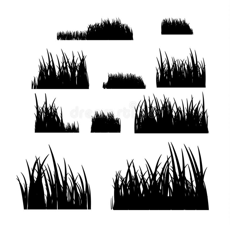 Grass meadow border vector pattern. Spring or summer plant field lawn. Black and white grass background.  royalty free illustration