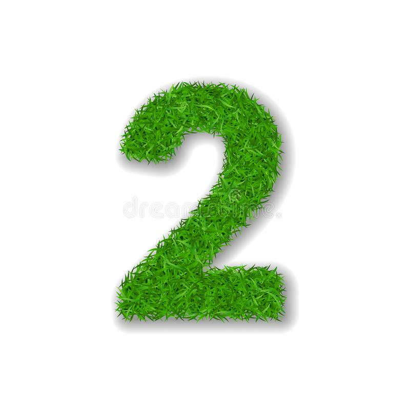 Grass number 2. Green 3D number two, isolated on white background. Green grass 2, symbol of fresh nature, plant lawn. Summer. Grass texture spring font royalty free illustration