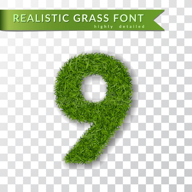 Grass number nine. Green number 9, isolated on white transparent background. Green grass 3D nine, fresh symbol of nature stock illustration