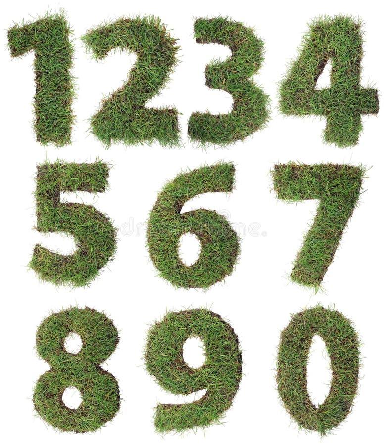 Grass Numbers Cutout stock photos