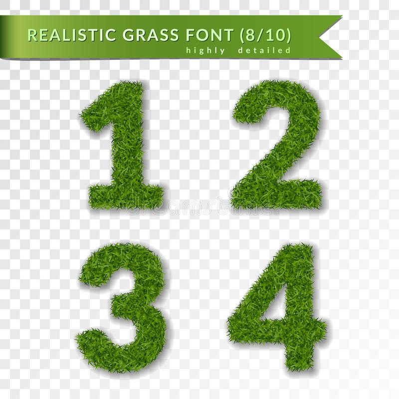 Grass numbers 1 2 3 4. Green numbers one, two, three, four isolated on white transparent background. Green grass, fresh stock illustration