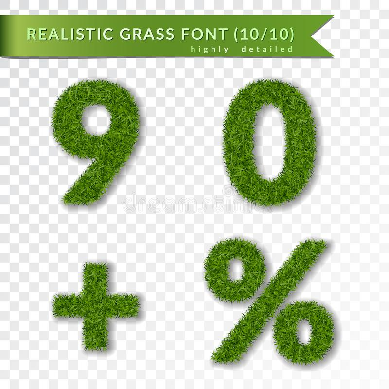 Grass percent, nine, zero, plus set. Green symbols, isolated on white transparent background. Green grass 3D numbers vector illustration