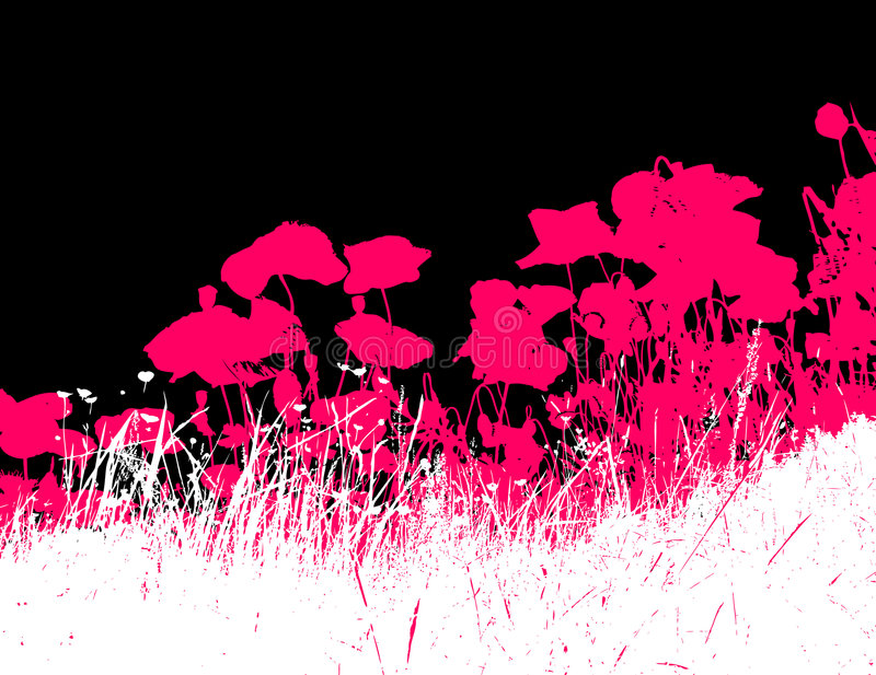 Download Grass With Pink Poppy Flowers.Vector Stock Vector - Image: 3949187