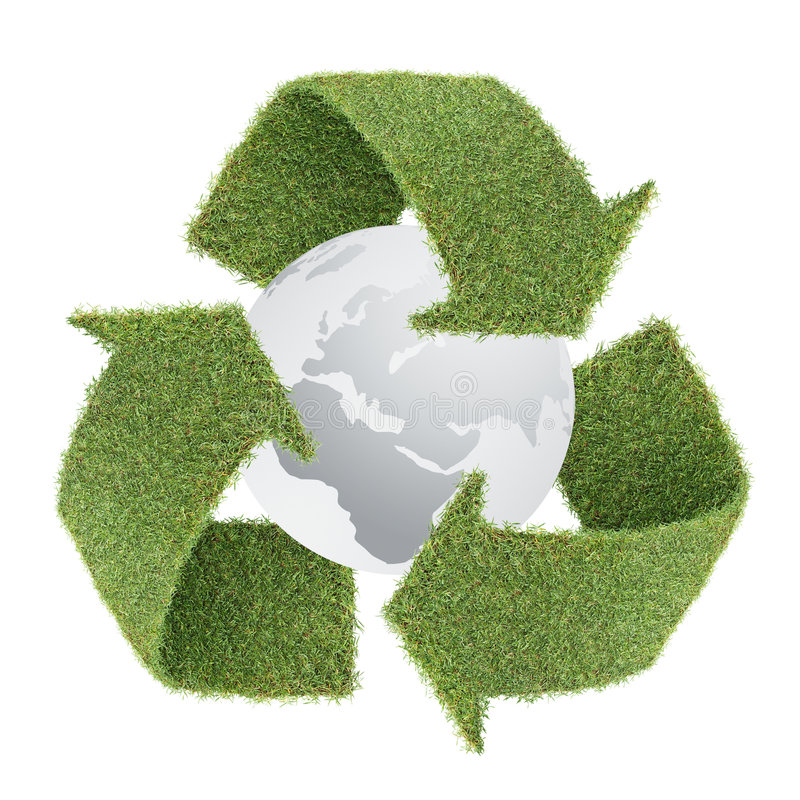 Grass Recycle Symbol With Globe Royalty Free Stock Photo