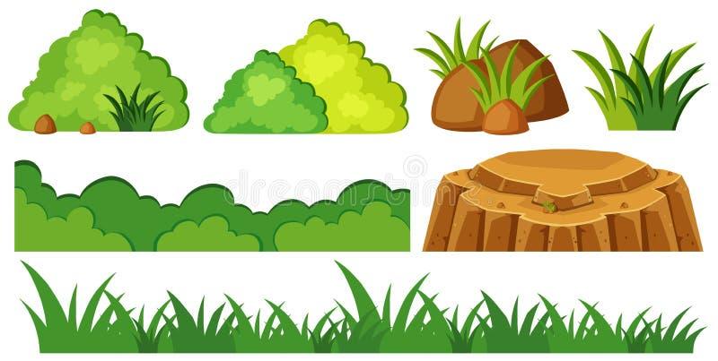 Grass and rocks in garden stock illustration