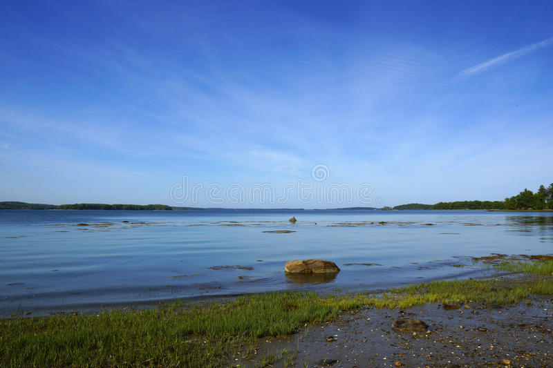 Grass and rocks in shallow waters off coast. Of Cousins Island, Yarmouth, Maine stock photography